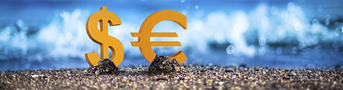 Dollar and Euro are standing on the wavy sea side